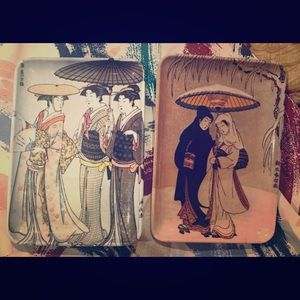 Vintage Japanese scenes small trays Made in Italy